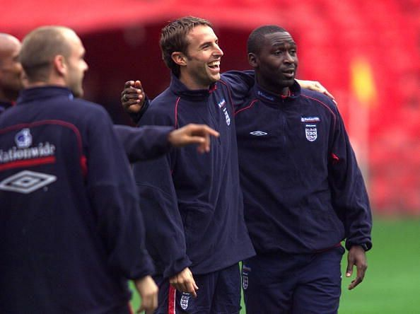 Southgate and Cole during training for England