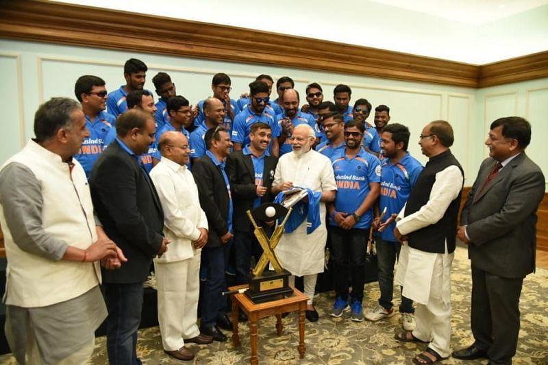 Indian Blind Cricket with Prime Minister Shri Narendra Modi
