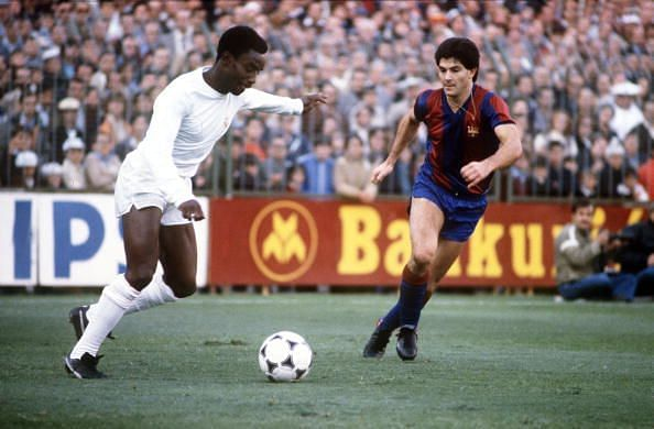 BT Sport, Football, pic: circa 1980, Spanish League, Real Madrid 3, v Barcelona 2, Laurie Cunningham, Real Madrid poised to cross the ball, Laurie Cunningham (1956-1989) played in Spain for Real Madrid, 1979 - 1983, sadly killed in a car crash in 1989