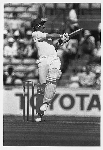 Cricketer Graham Gooch in Mid Swing