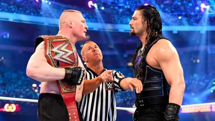 Brock Lesnar defends his Championship against Roman Reigns this weekend