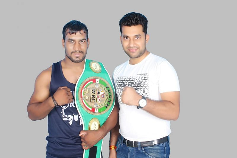 Indian Boxer Rajesh Kasana (Luka) with Jai Singh Shekhawat
