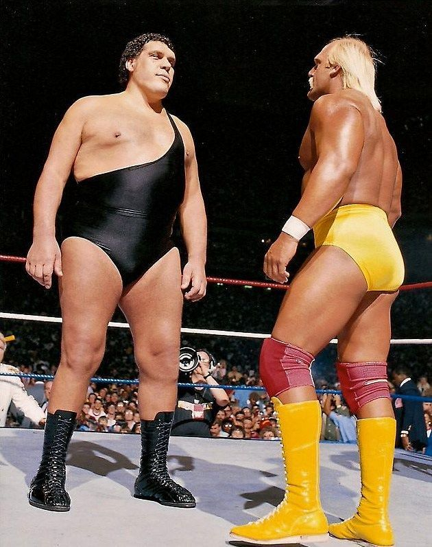 Hulk Hogan faces down Andre the Giant at Wrestlemania III