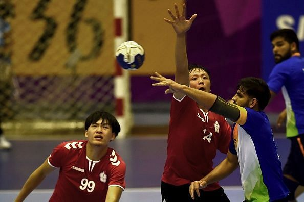 Indian Handball players in action