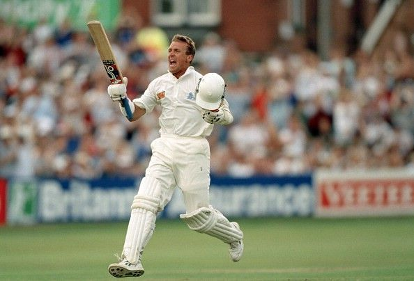 Alec Stewart celebrates a Test hundred