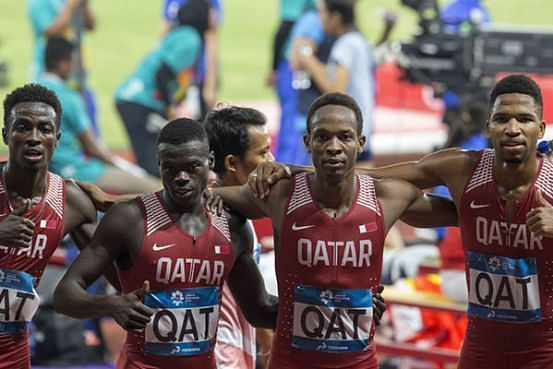 Qatar took the 4 x 400m Relay Gold (Image Courtesy: Qatar is Booming)