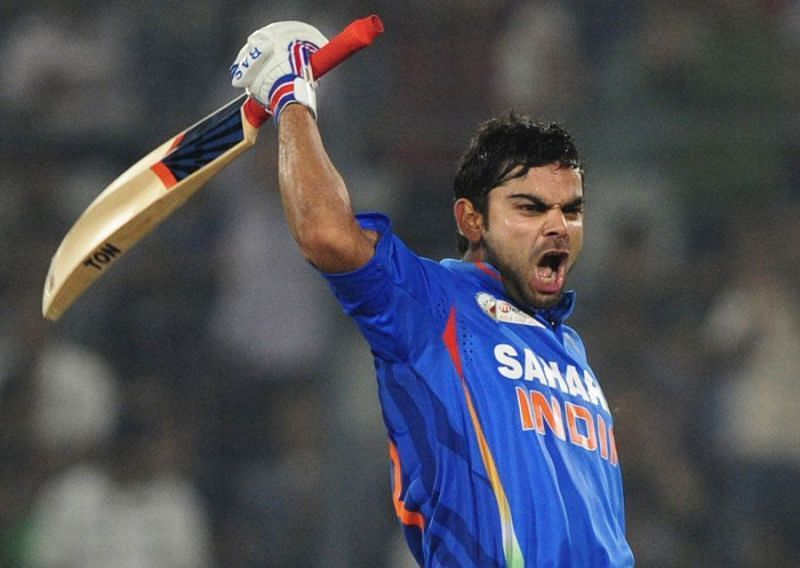 Virat celebrating after bringing up his 11th century