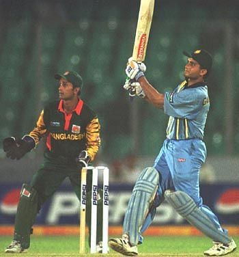 Sourav Ganguly during his knock of 135 against Bangladesh