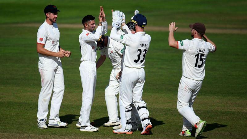 Keshav Maharaj celebrates a wicket at Somerset