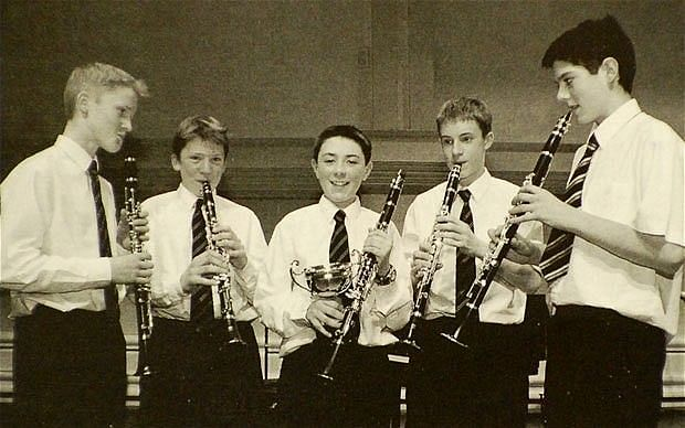 Alastair Cook (far right) practicing the clarinet