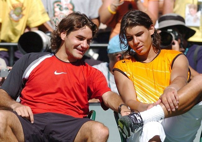 Federer and Nadal in the Miami Opens final, 2005.