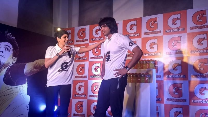 Mandira Bedi and Neeraj Chopra gear up to do the fitness challenges at a welcome event, which was organized by global sports drink brand, Gatorade
