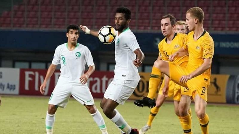 Feras Al-Birakan of Saudi Arabia chesting the ball down (Image Courtesy: The World Game SBS)