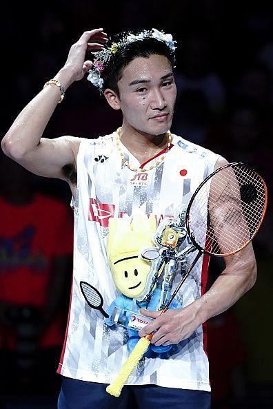 Kento Momota after winning Gold medal in Men