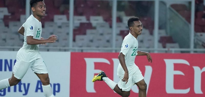 Jersey number 22 Todd Rivaldo Ferre scored a hat-trick for Indonesia (Image Courtesy: AFC)