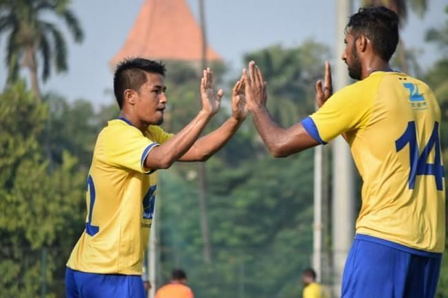 Malemnganba Meitei (L) has also played for Mumbai FC