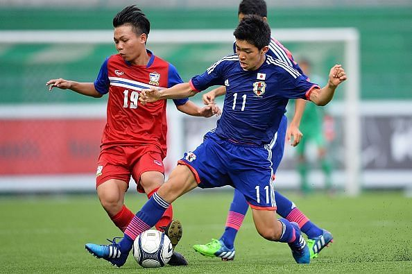 Taisei Miyashiro in the Blue jersey scored the second goal for Japan