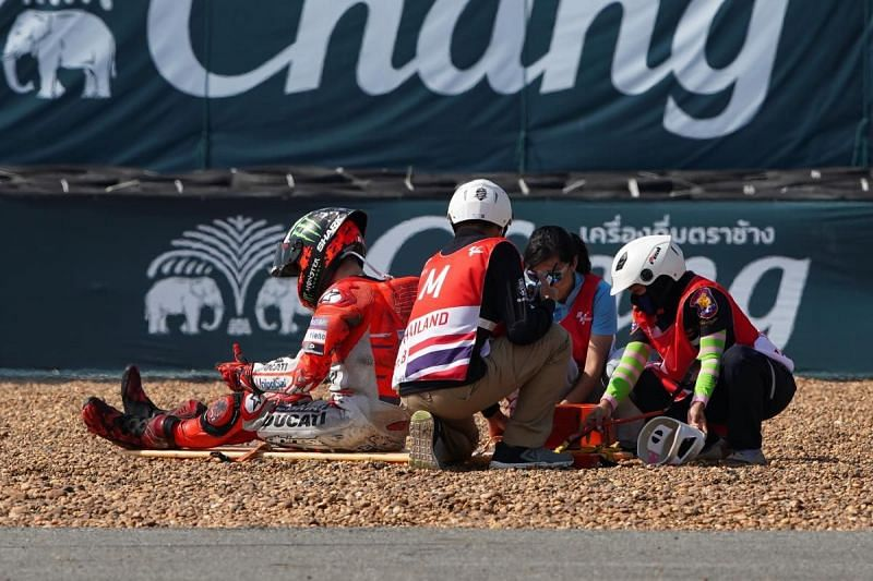 Jorge Lorenzo crashed in the free practice session and will no longer participate in ThaiGP