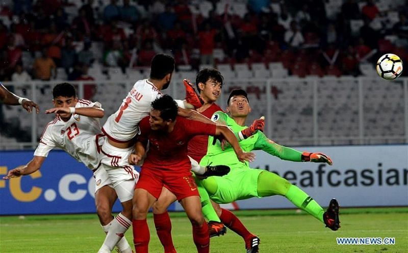 Breathtaking end-to-end action in the final minutes between Qatar and Indonesia (Image Courtesy: Xinhuanet)