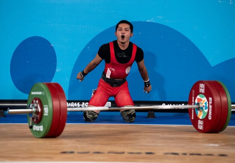 Jeremy Lalrinnunga from India looks delighted after claiming the Gold (Image Courtesy: IOC)