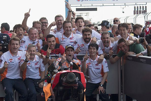 Marc Marquez celebrating a Grand Prix win