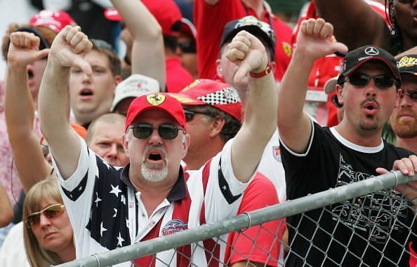 Angry fans at the F1 Grand Prix of USA, 2005