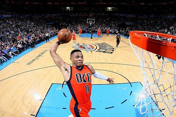 Russell Westbrook dunking in transition