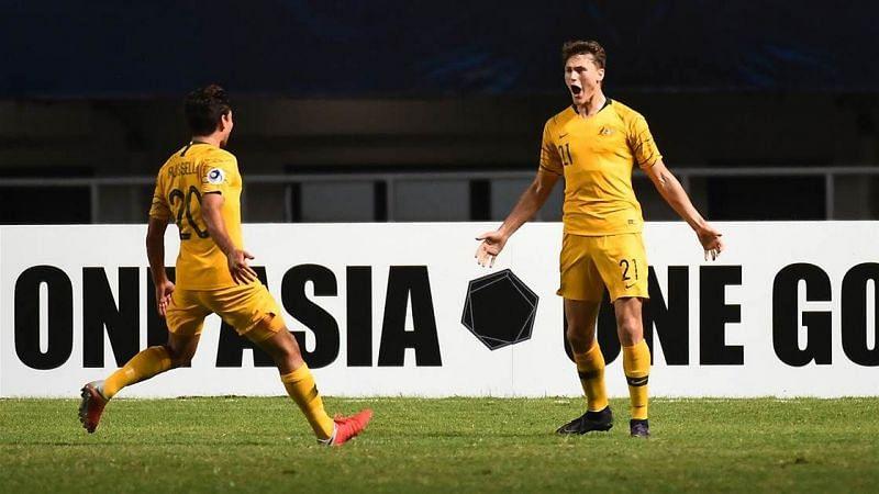 Number 21 Oliver Puflett of Australia is excited after scoring against Jordan (Image Courtesy: FTBL)