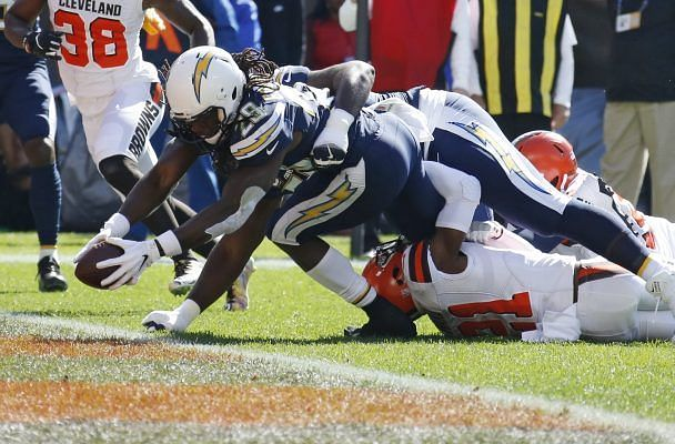 Melvin Gordon scoring one of three touchdowns