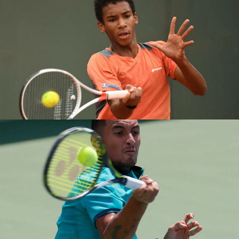 The forehands of both Felix Auger-Aliassime (top) and Nick Kyrgios (Sources for both: Zimbio)