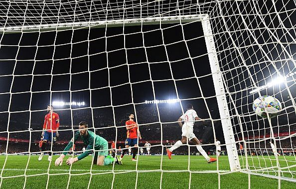 Raheem Sterling scores the third goal of the night.