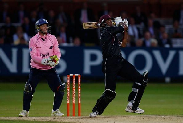 Gilchrist in action during his career at Middlesex