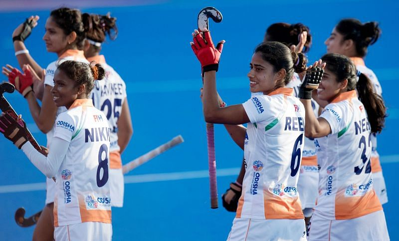 Reena with her jubilant teammates after the WC crossover against Italy
