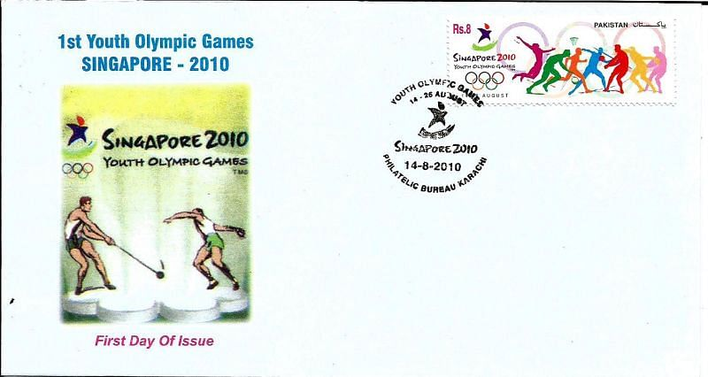 Stamps and First Day issued by Pakistan to commemorate 2010 Youth Olympic Games.