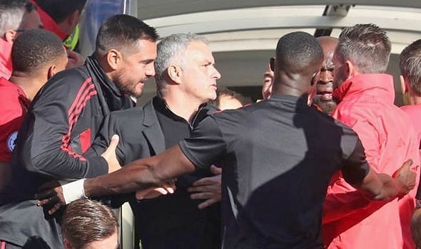 Mourinho was involved in a touchline bust-up with members of Chelsea