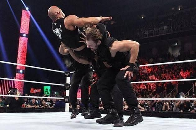 Shield triple powerbombed The Rock