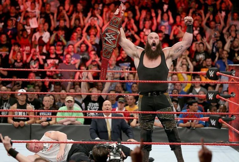 Image result for braun strowman holding universal title