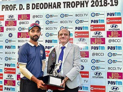 Image result for ajinkya rahane india C deodhar trophy