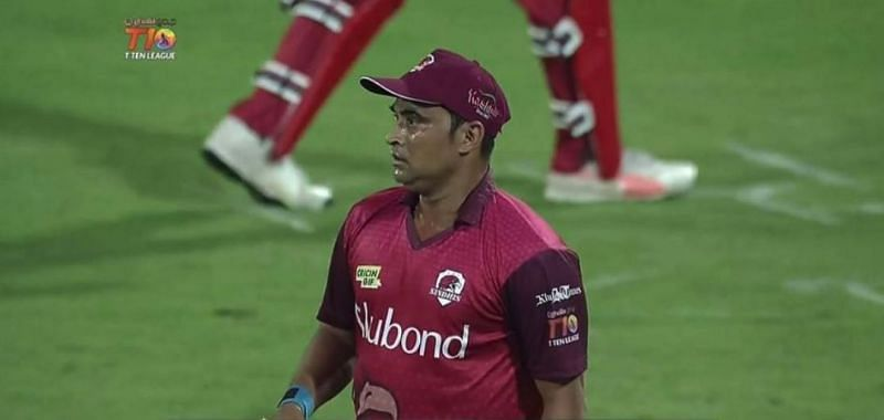 Tambe wrote history on his T10 debut with a unique hattrick and a 5-wicket-haul [Source: Twitter]