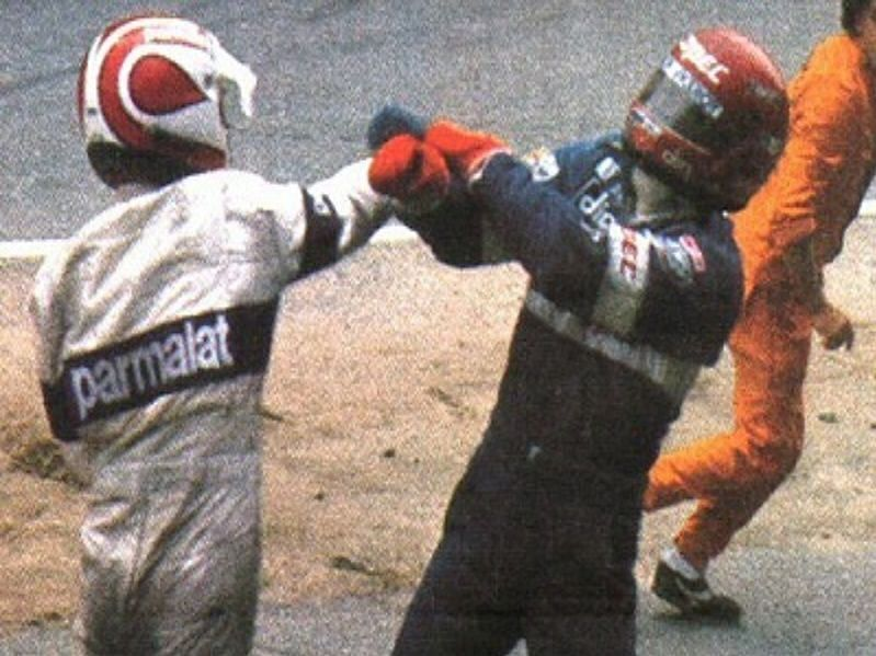 Nelson Piquet throws a punch at Eliseo Salazar