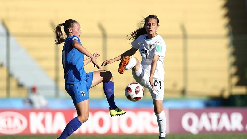 Belen Aquino of Uruguay - number 21 in action against Finland (Image Courtesy: FIFA)