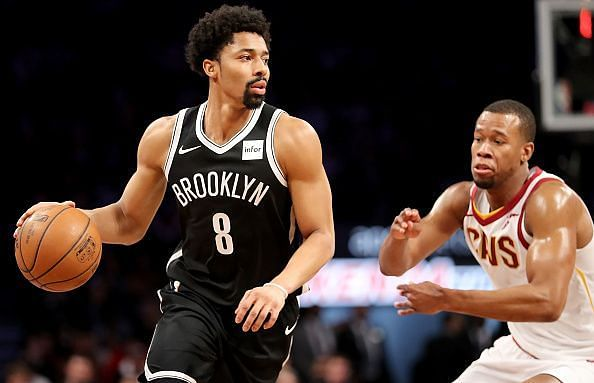 The Brooklyn Nets in action against the Cleveland Cavaliers