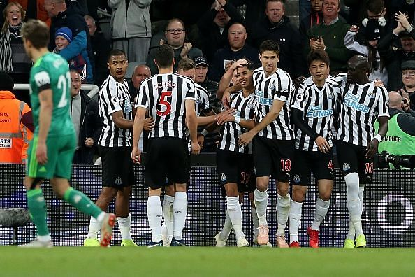 Newcastle United celebrate their goal versus Watford on Saturday
