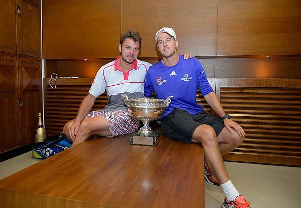 Stan Wawrinka and Magnus Norman after the former