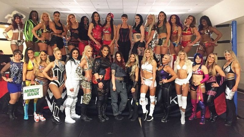 The women of the WWE, at the first ever Women