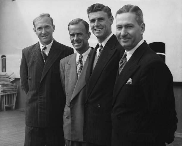 John Bromwich in the centre along with the 1939 Australian Davis Cup Team