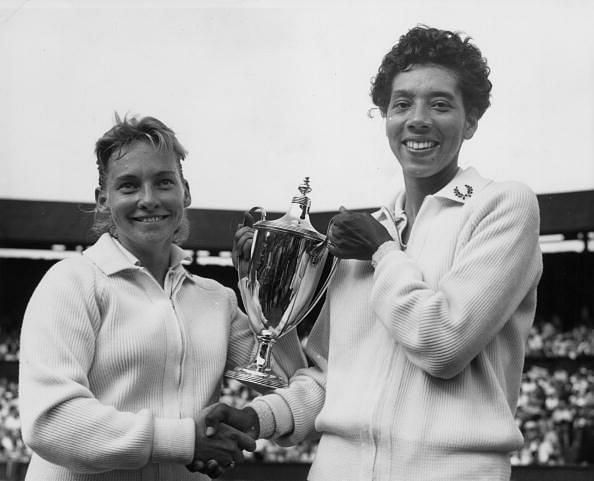 Althea Gibson on the right - the first ever African - American Grand Slam champion