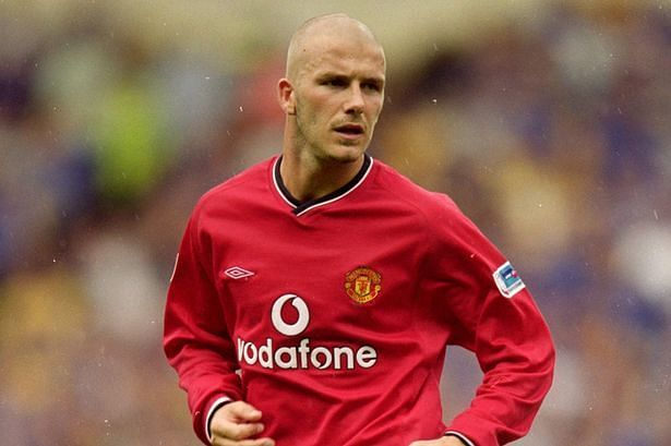 One of the many Beckham hairstyles during his time at Manchester United
