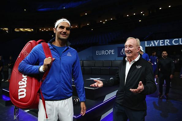 Rod Laver with Roger Federer at the 2018 Laver Cup