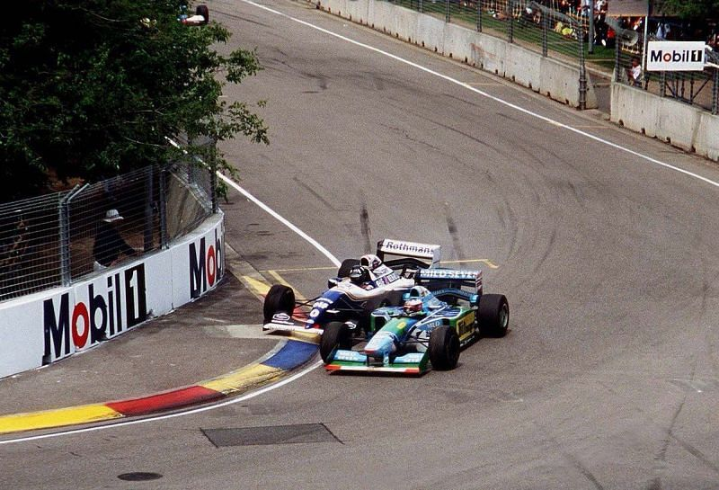 Schumacher forced Hill into the wall